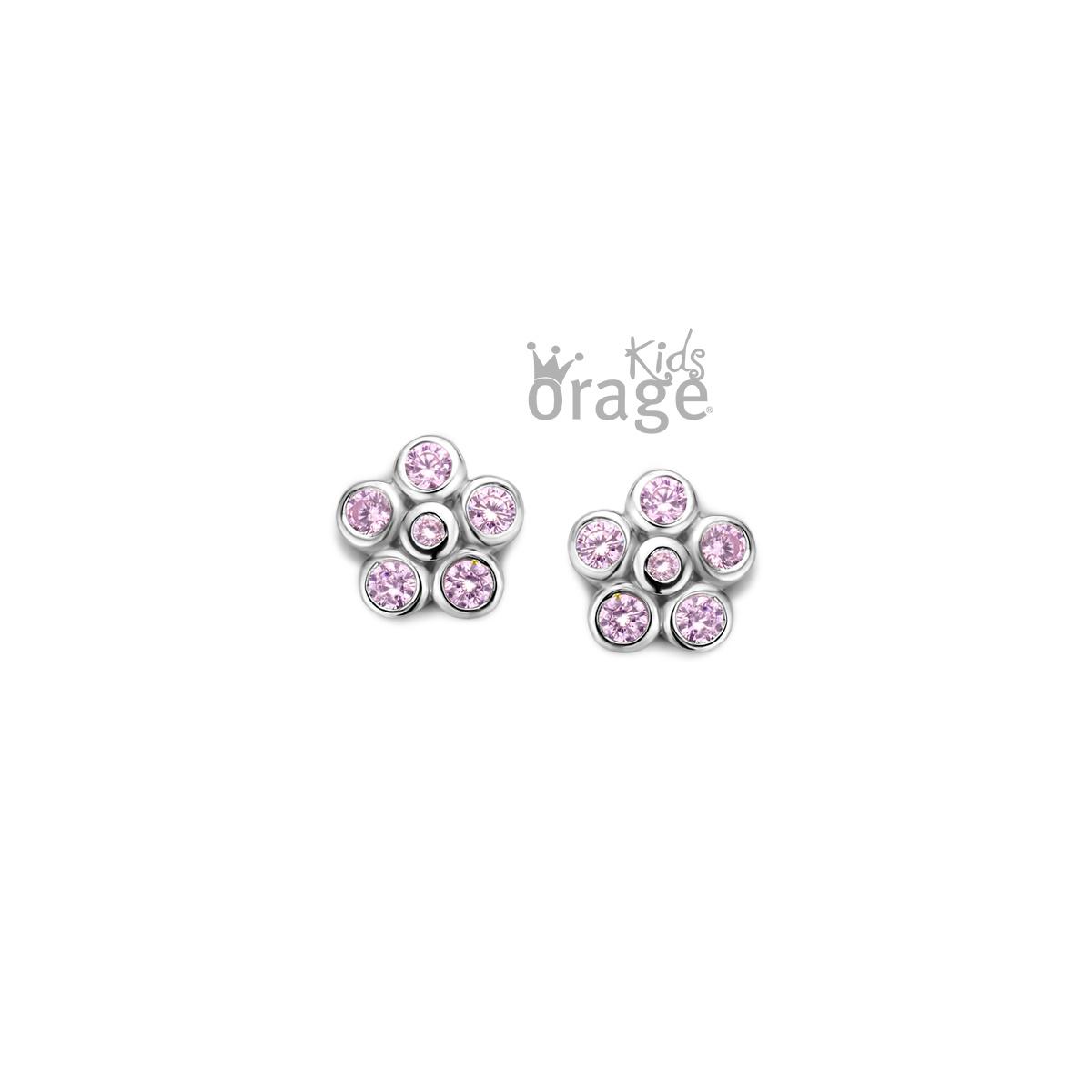 Orage kids Oorringen bloem roze 925 rh cz