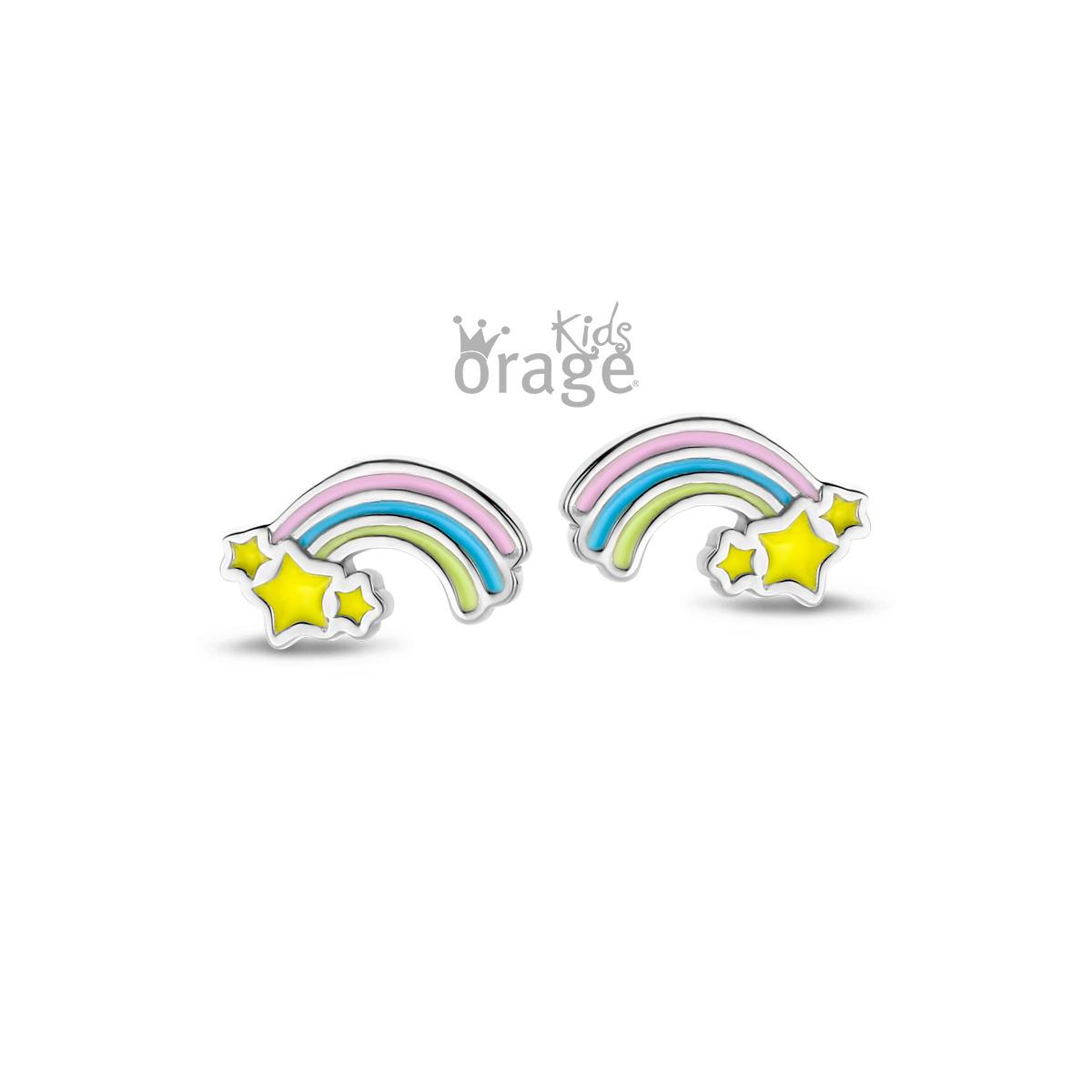 Orage kids Oorsteker  regenboog pastel