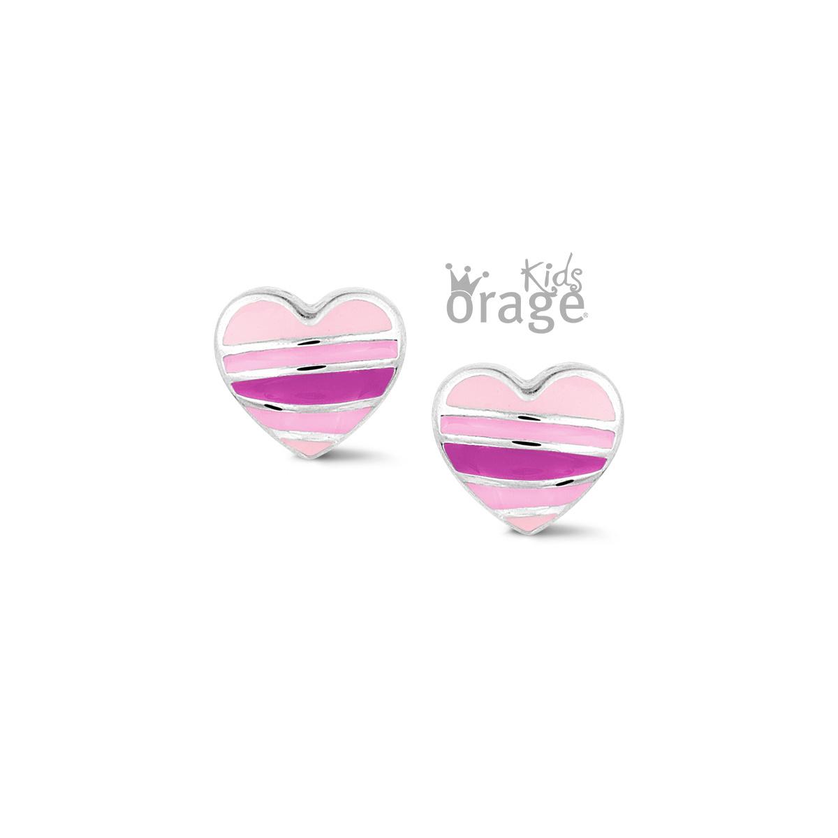 Orage kids Oorringen hart roze 925 rh