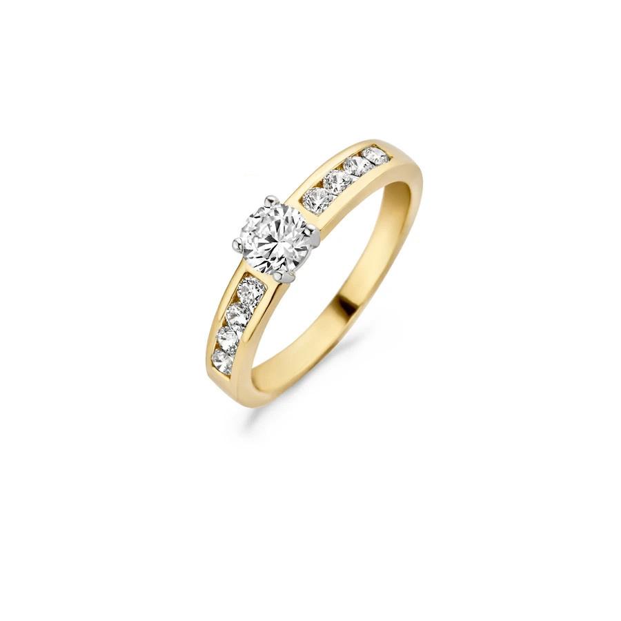Blush Ring 1126BZI - Geel en Wit Goud (14Krt.) met Zirconia