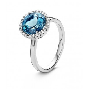 You and Me Ring wit goud london blue topaas