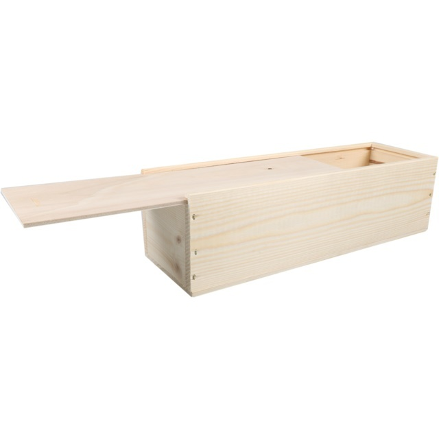 Houten kist  met schuifdeksel en houtwol (kies juiste formaat)