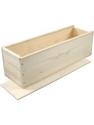 diverse Houten kist  met schuifdeksel en houtwol