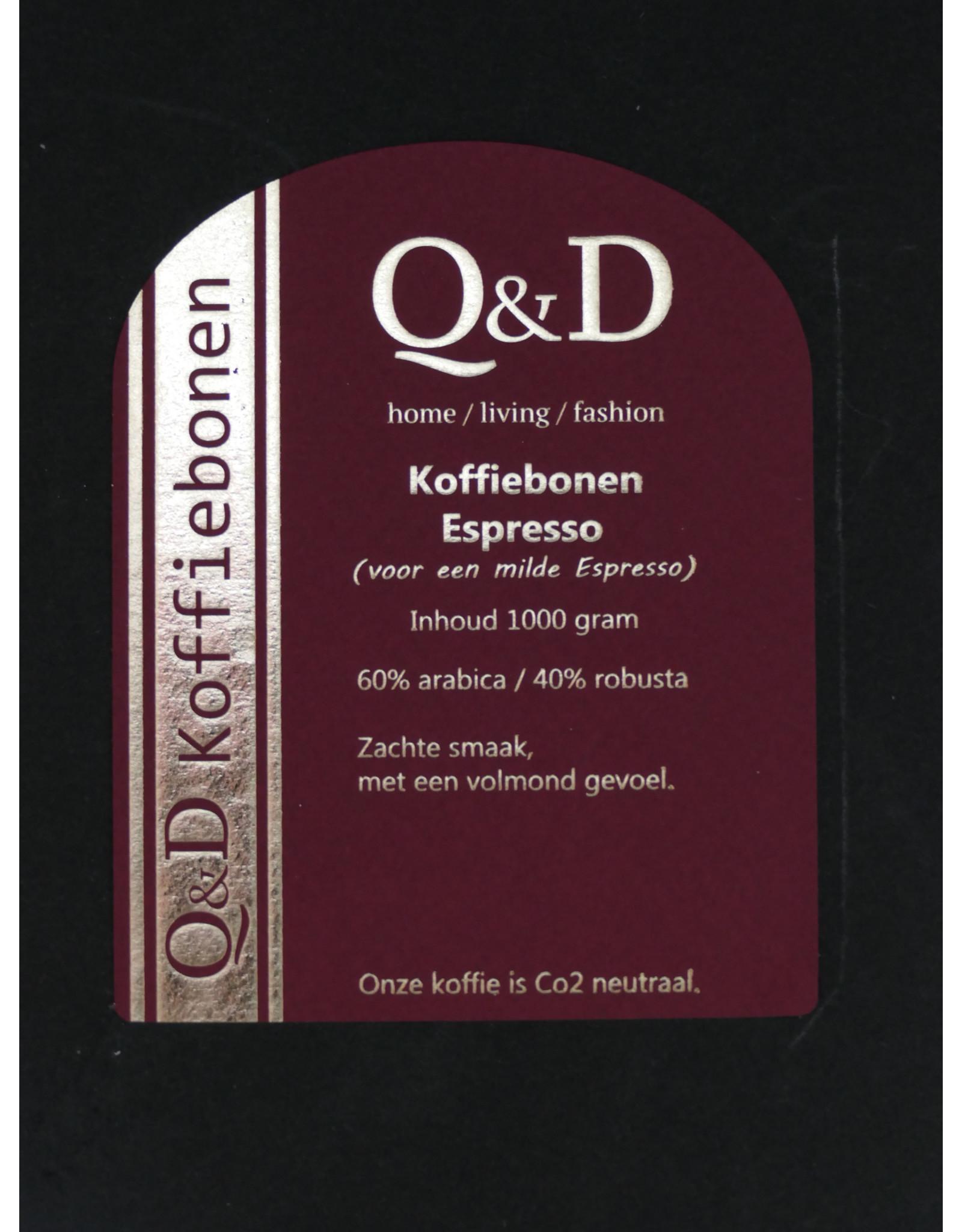 Q&D KOFFIEBONEN KOFFIEBONEN ESPRESSO 1KG ROOD