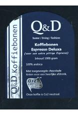Q&D KOFFIEBONEN KOFFIEBONEN ESPRESSO 1KG DELUXA NORMAAL 18.95 PER KG NU: 2 ZAKKEN € 30.00