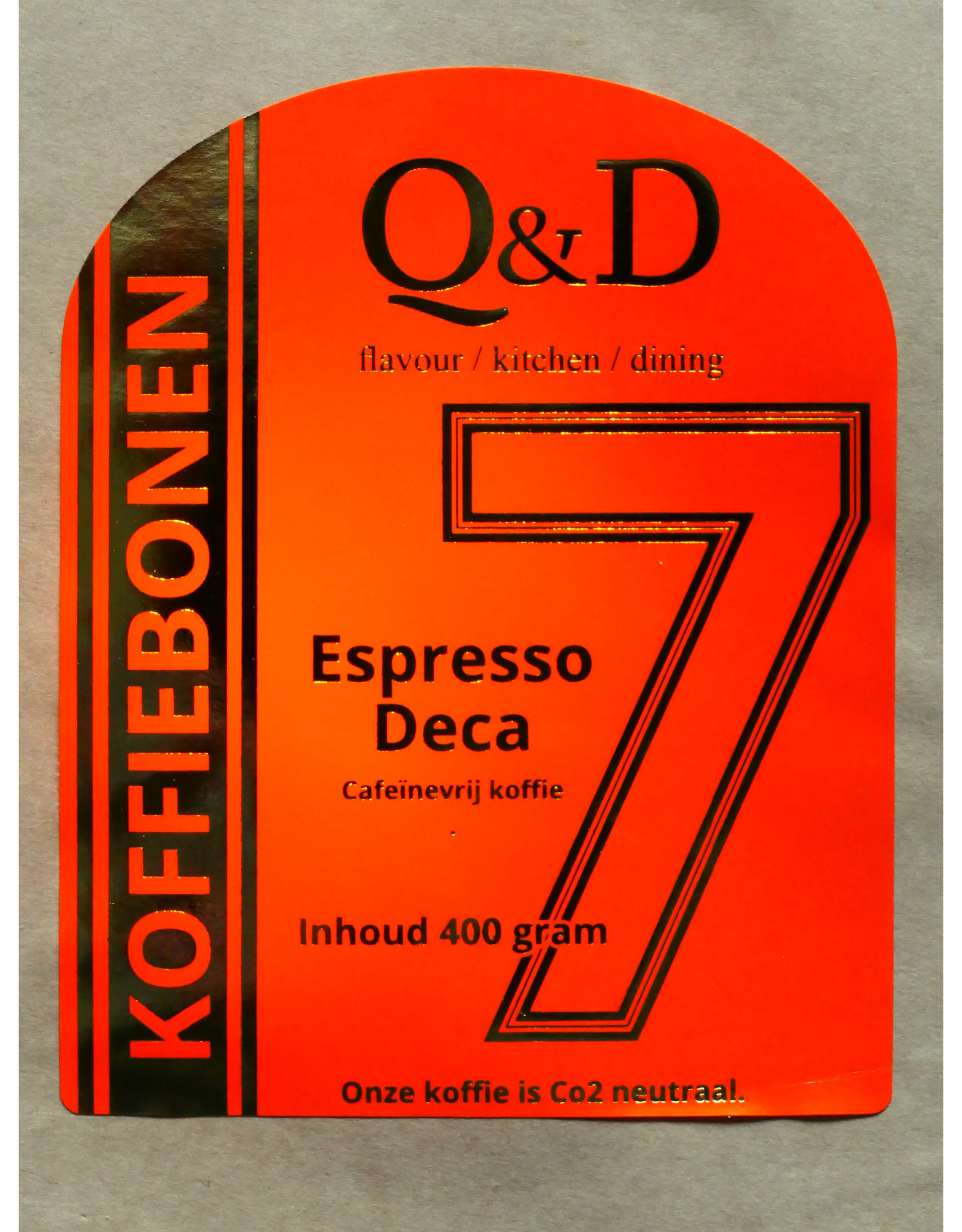 Q&D KOFFIEBONEN KOFFIEBONEN ESPRESSO DECA 400GRAM