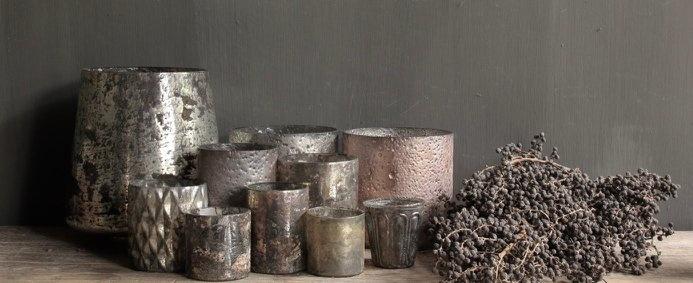 waxine/ windlichtje Mat goud/Zilver-2
