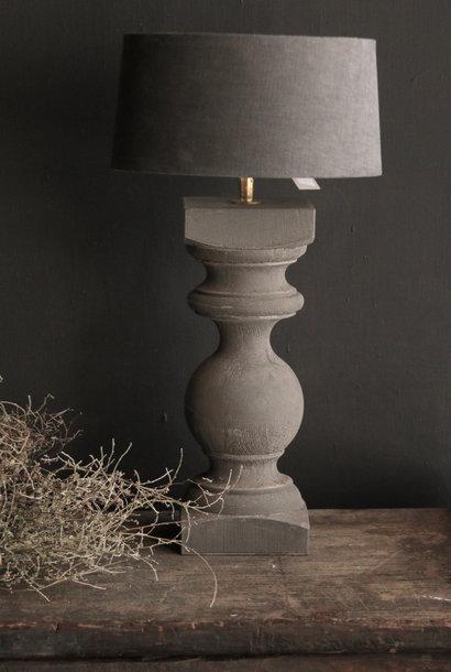 Graue Baluster-Lampenfassung aus Holz