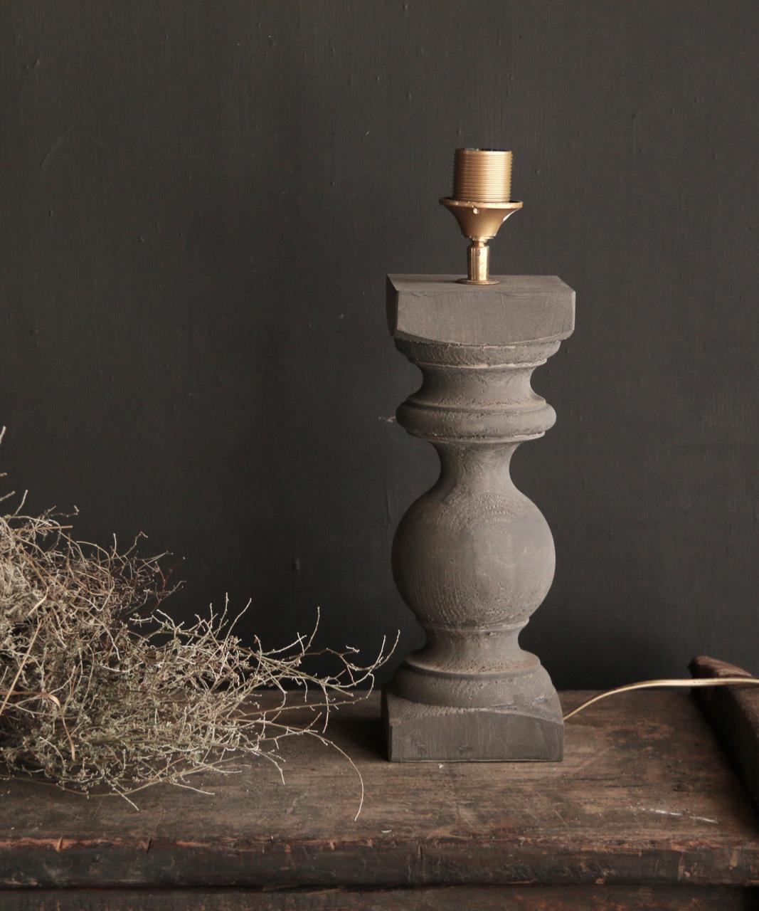 Grijs Houten Baluster lamp voetje-2