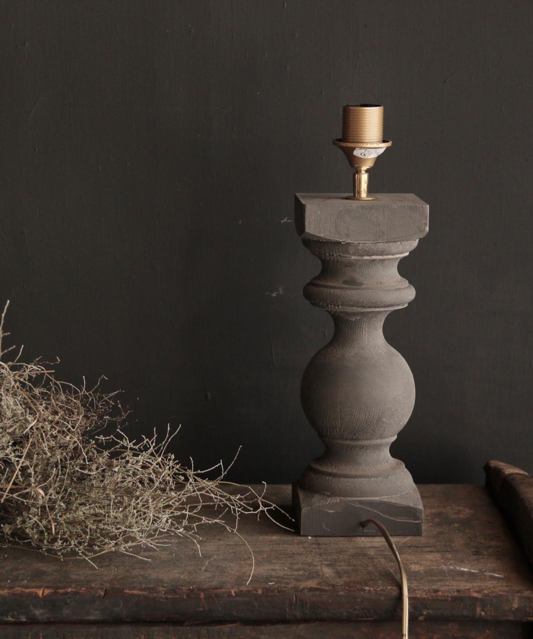 Grijs Houten Baluster lamp voetje-3