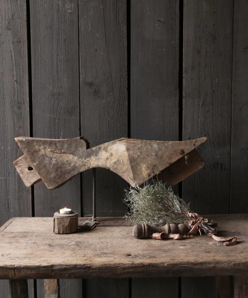 Prachtig houten ornament op stalen voet-1