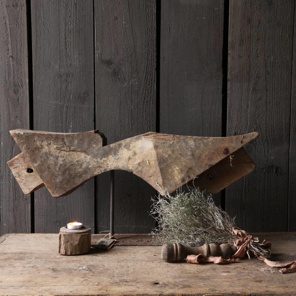 Prachtig houten ornament op stalen voet-3
