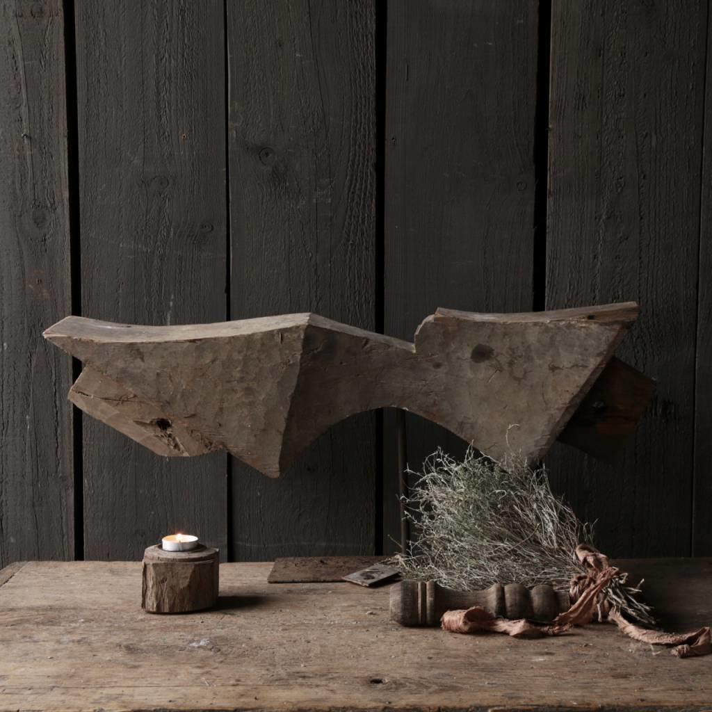 Prachtig houten ornament op stalen voet-4
