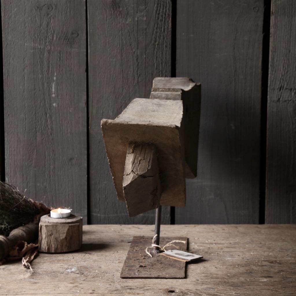Prachtig houten ornament op stalen voet-6