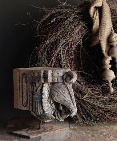 Aura peeperkorn Indisch houten Olifant ornament op stalen voet