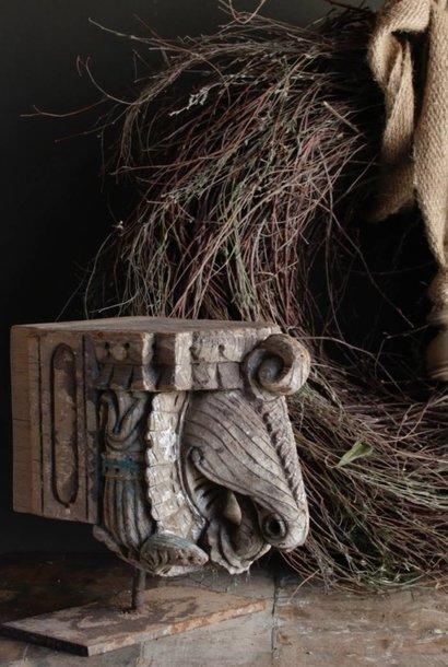 Indisch houten Olifant ornament op stalen voet