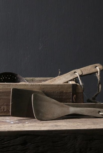 Set of two gray wooden Ladles