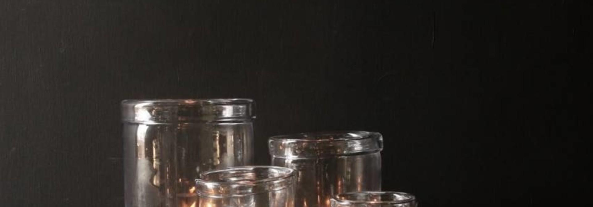 Glas Windlicht mit umgebogener Kante (handgefertigt)