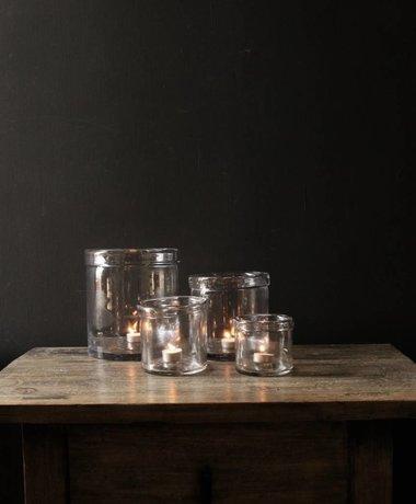 Glazen windlicht met omgevouwen rand ( Handmade)