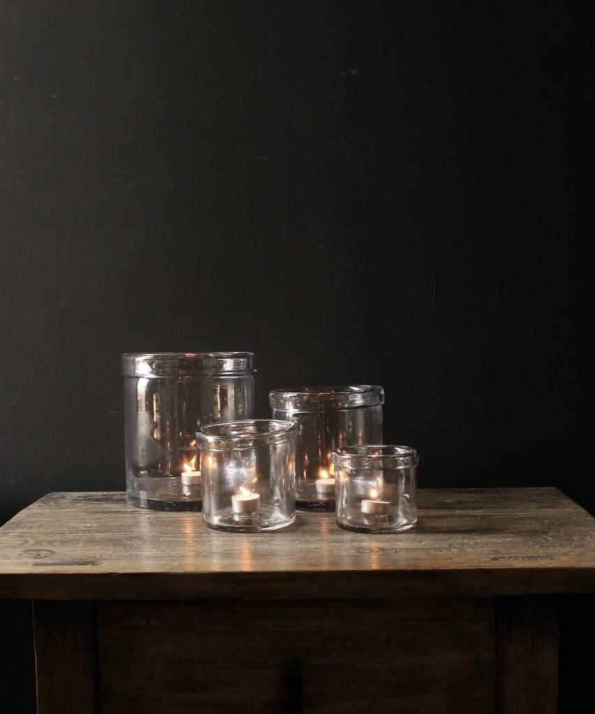 Glazen windlicht met omgevouwen rand ( Handmade)-1