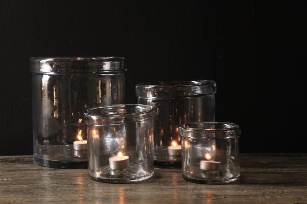 Glazen windlicht met omgevouwen rand ( Handmade)-2