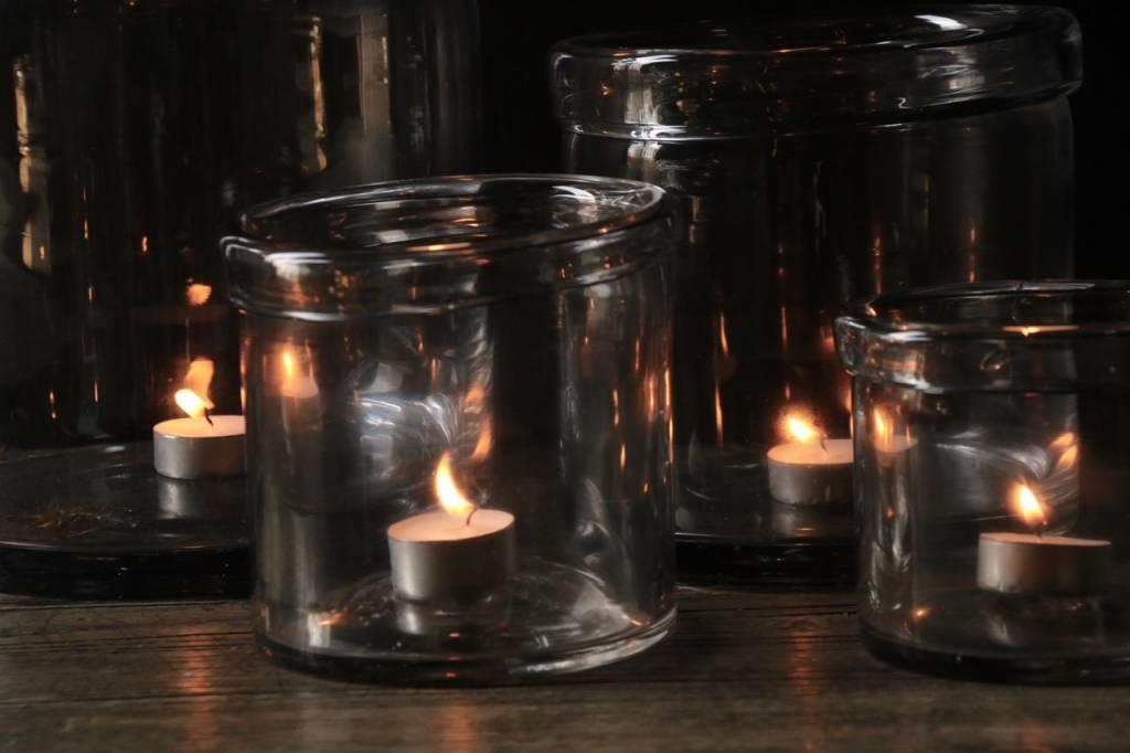 Glazen windlicht met omgevouwen rand ( Handmade)-3