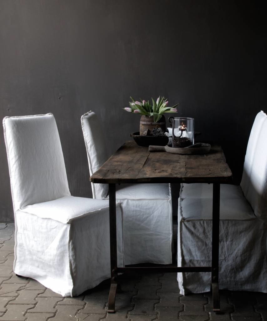 Set of six showroom model chairs with loose white linen cover-1