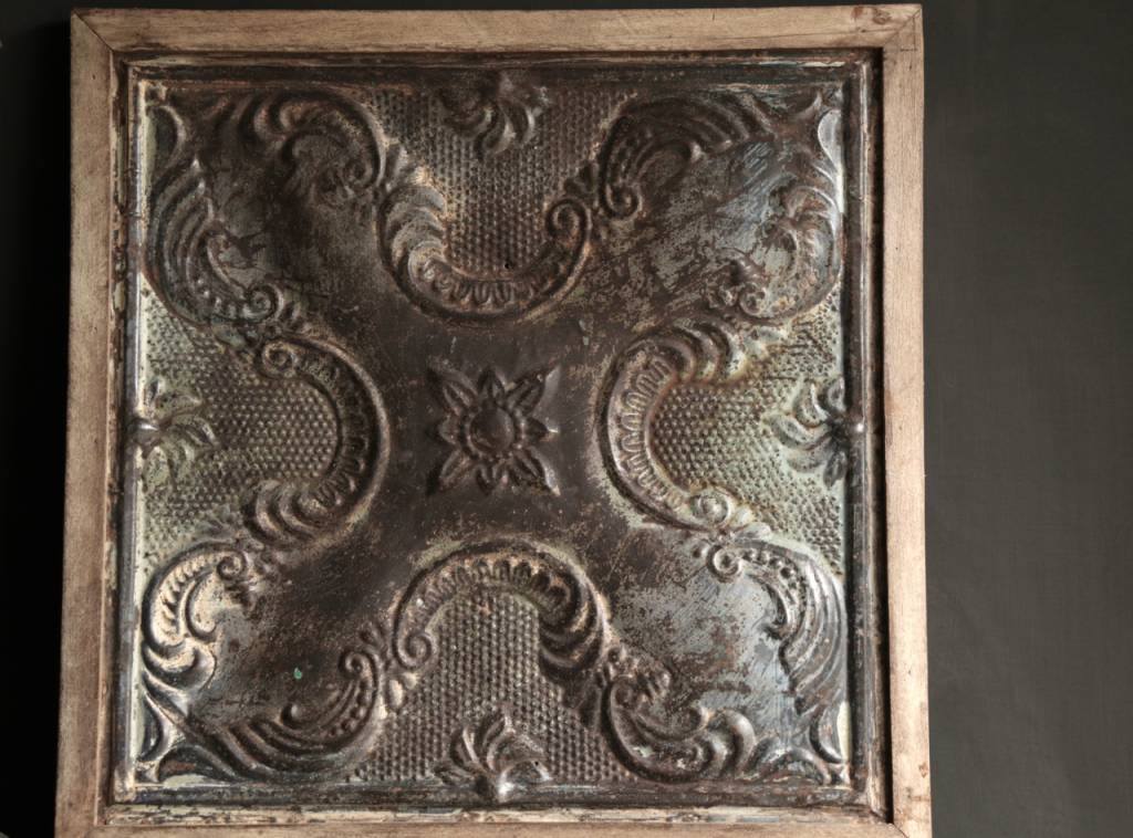 Beautiful old ceiling panel framed in wooden frame-2