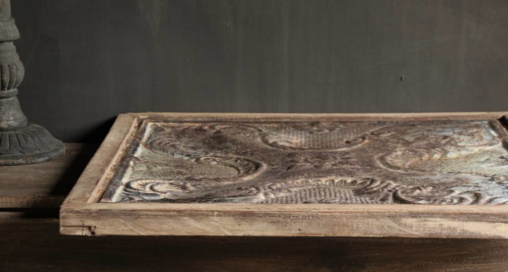 Beautiful old ceiling panel framed in wooden frame-5