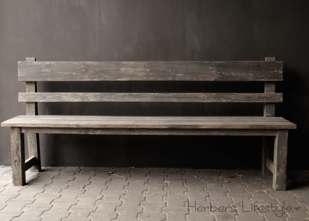 Bench with high back of old used wood-4