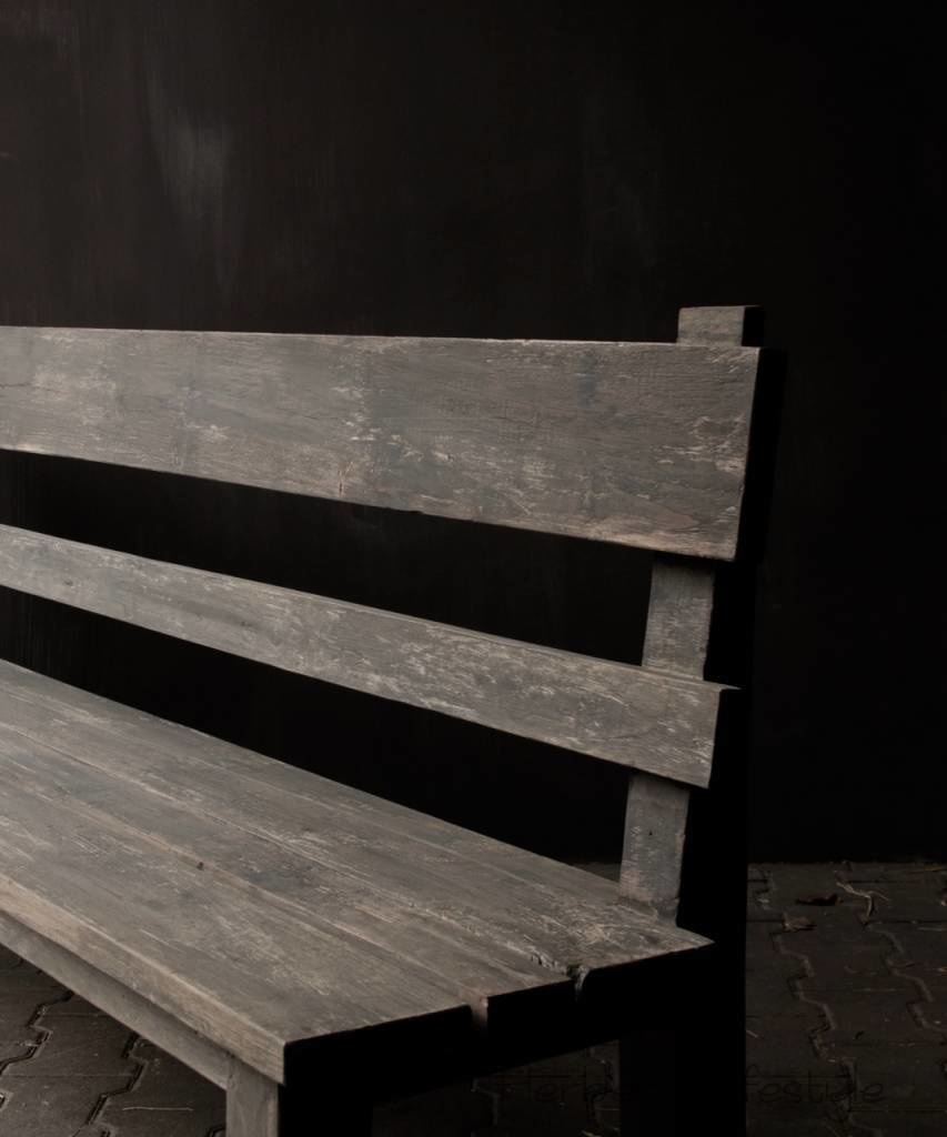 Bench with high back of old used wood-7