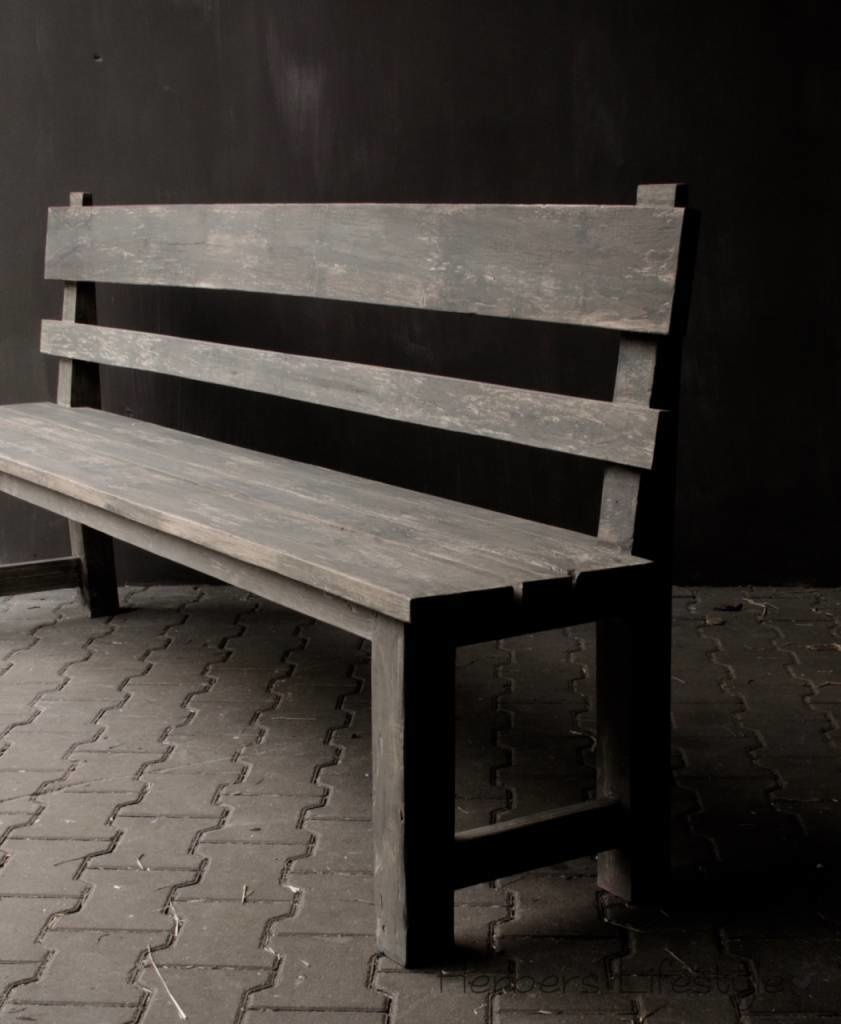 Bench with high back of old used wood-9