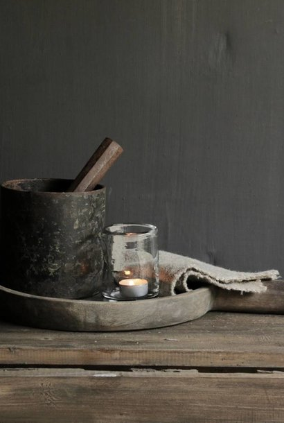 Iron mortar with pestle