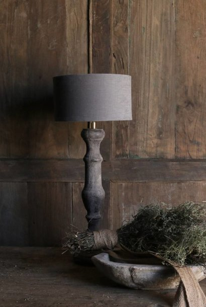 Dark aged wooden lamp foot