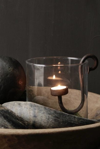 iron lantern candlestick dinner / tealight or blunt candle