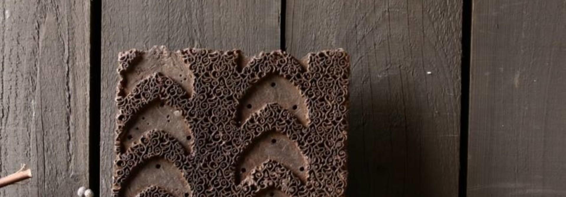 Oud houten Indische batik stempel