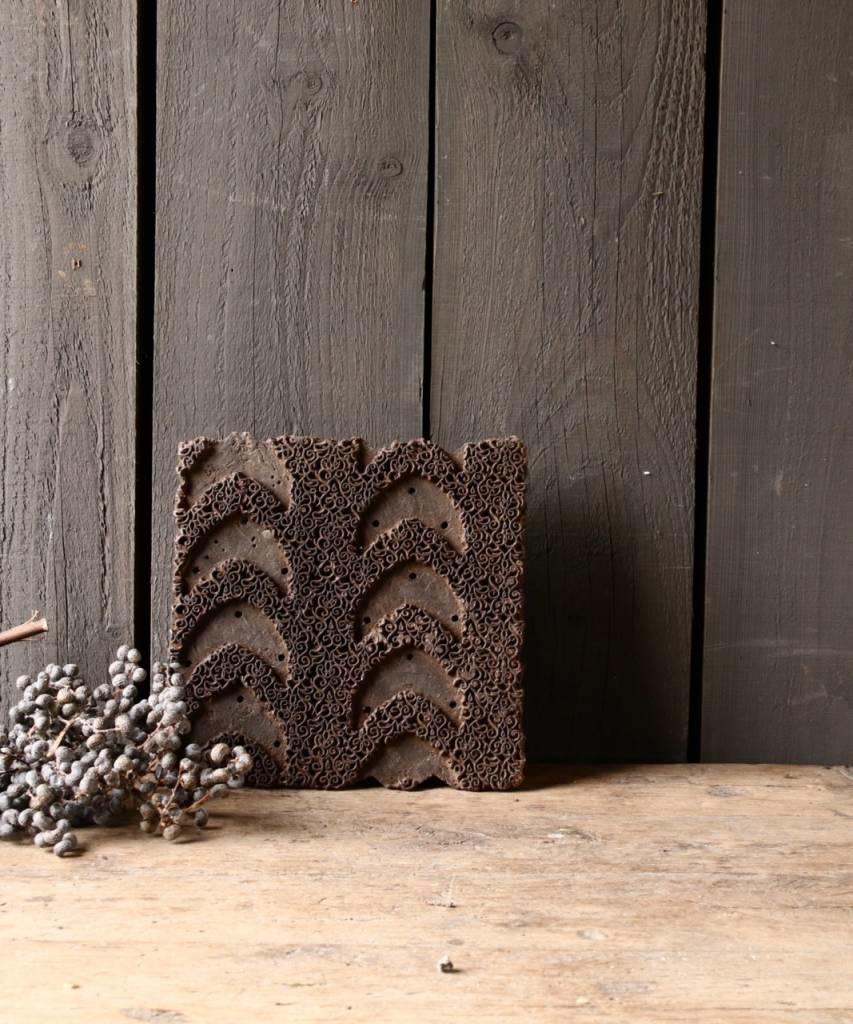 Oud houten Indische batik stempel-1