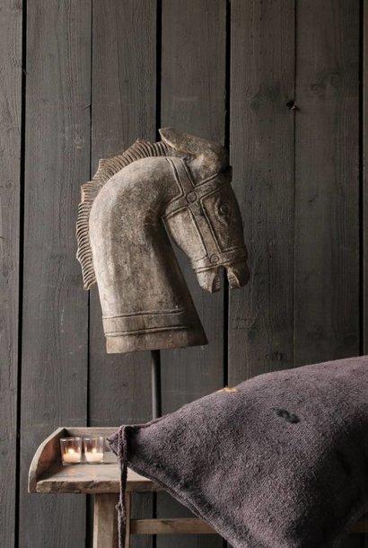 *Verkocht* Prachtig Groot houten paarden hoofd op standaard