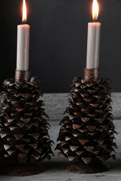 Iron pine cone candlestick rust brown
