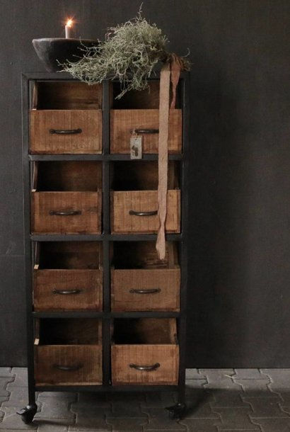 Steel cabinet with wooden drawers