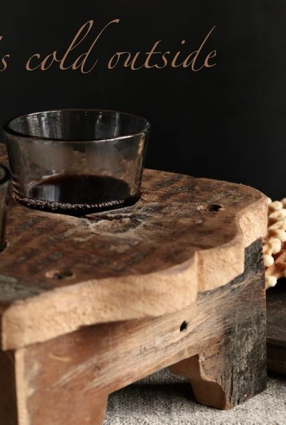 Wooden tray including six small glasses