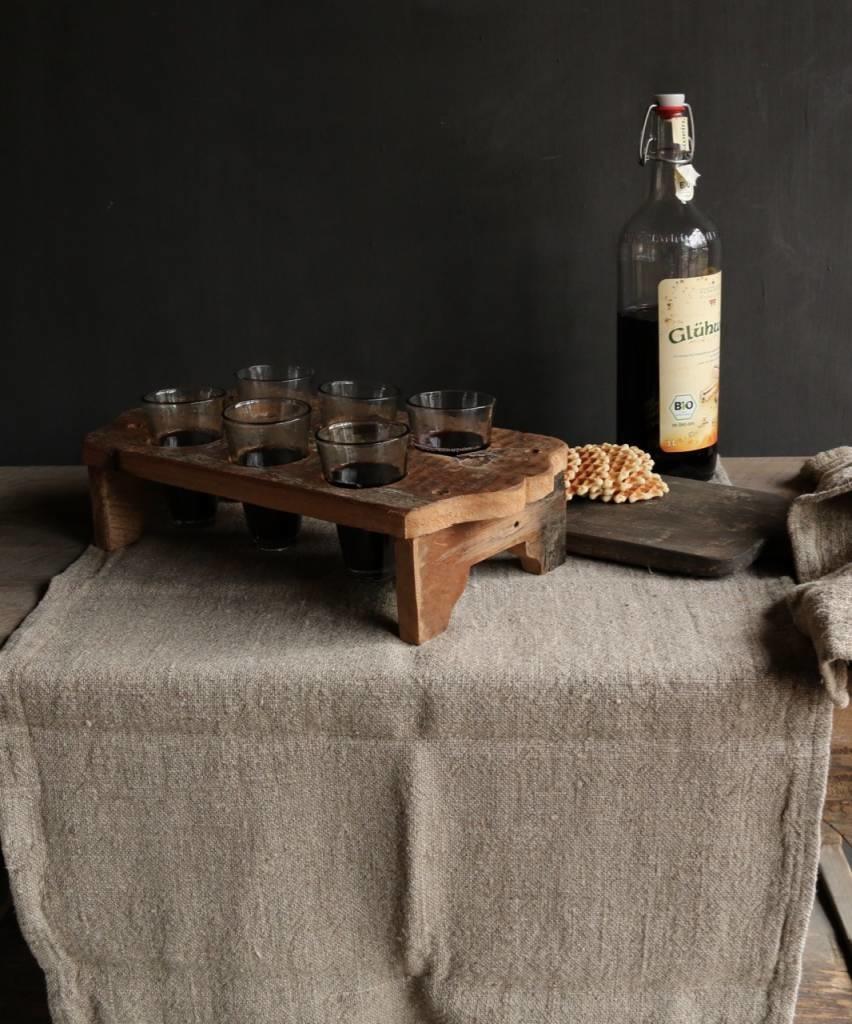 Houten tray incl zes kleine glaasjes-2