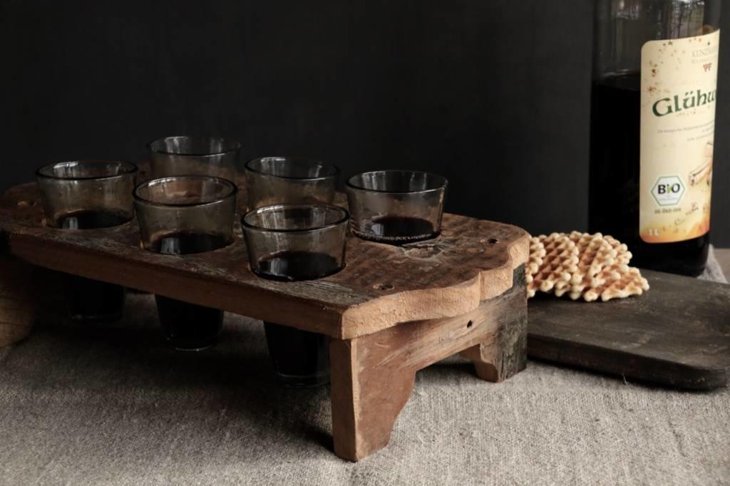 Houten tray incl zes kleine glaasjes-1