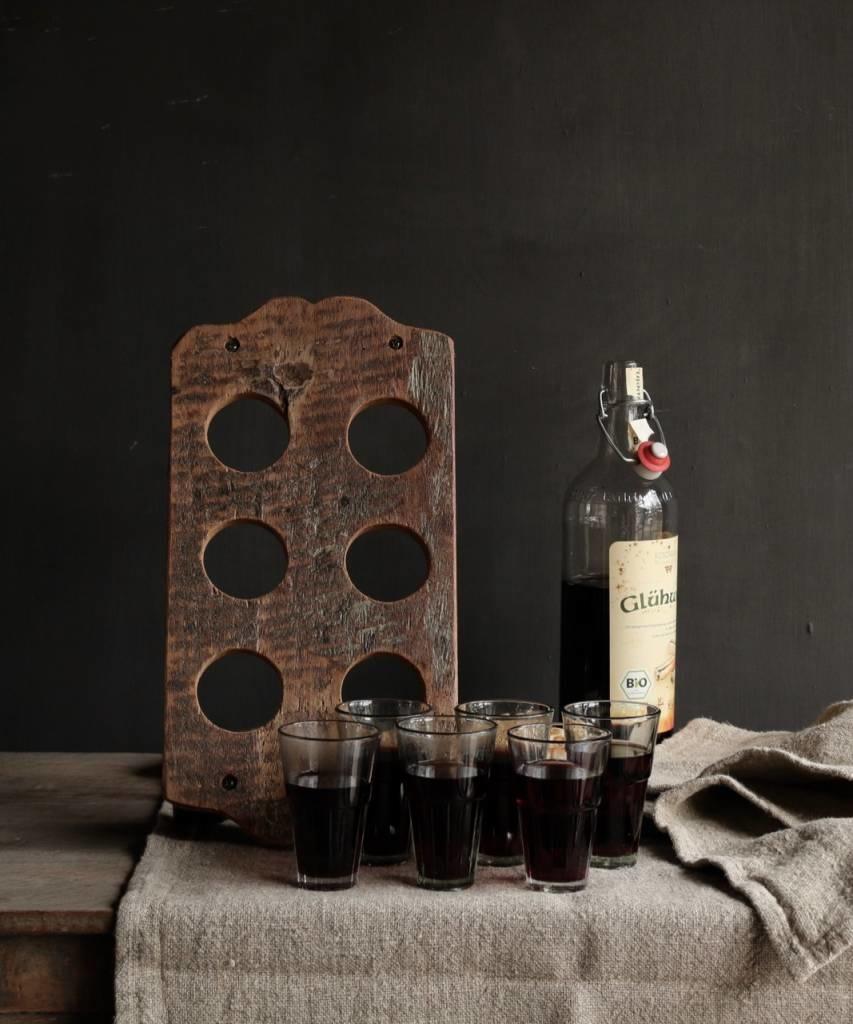 Holztablett mit sechs kleinen Gläsern-5