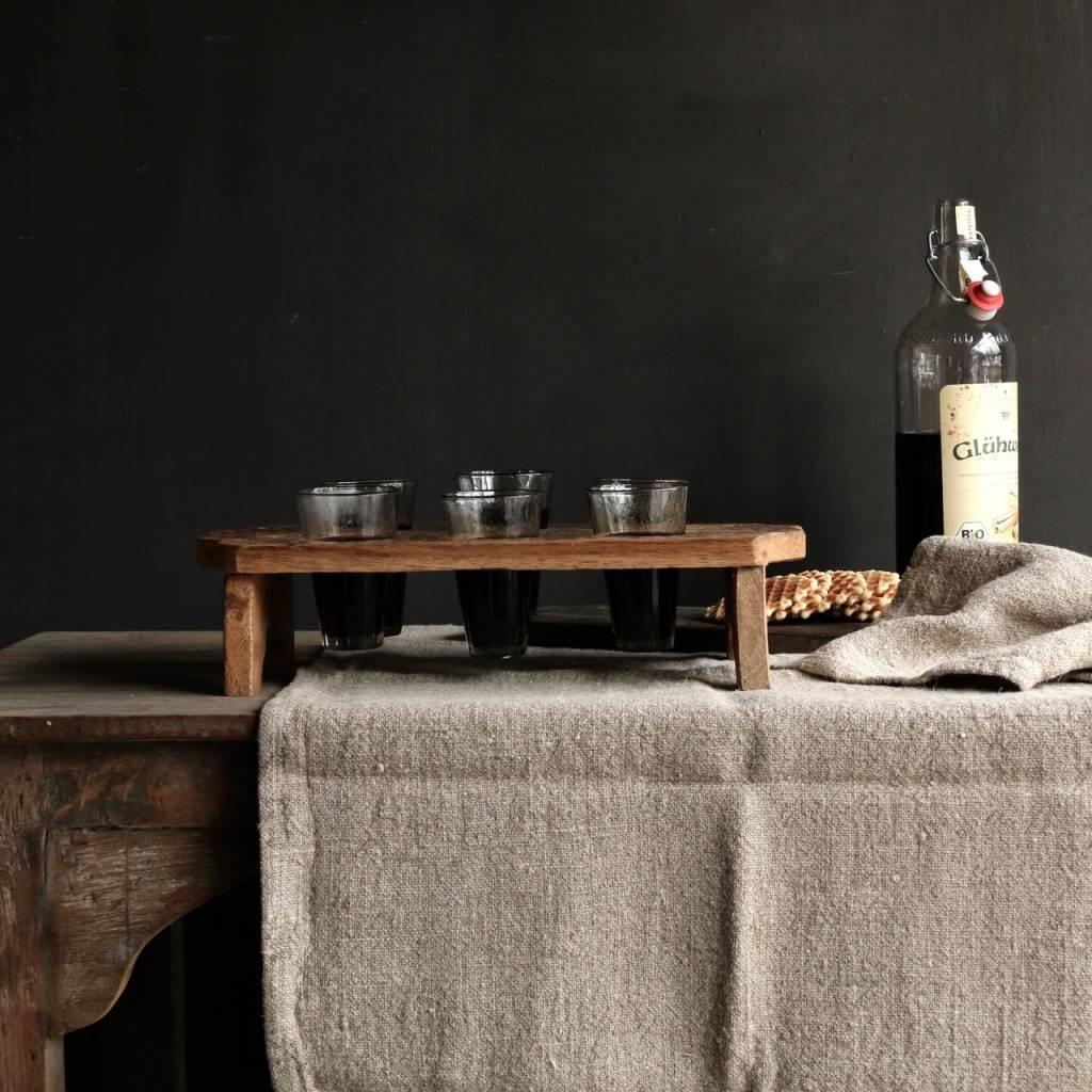 Houten tray incl zes kleine glaasjes-6