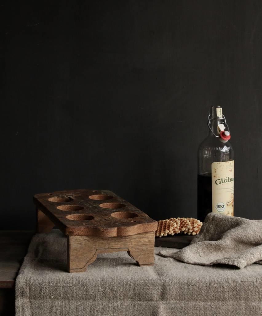 Houten tray incl zes kleine glaasjes-7