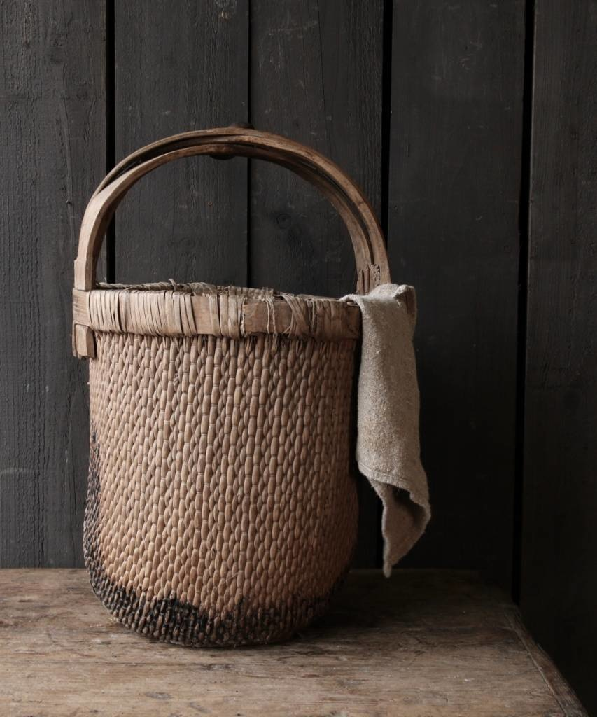 Oude Authentieke Wicker mand-2