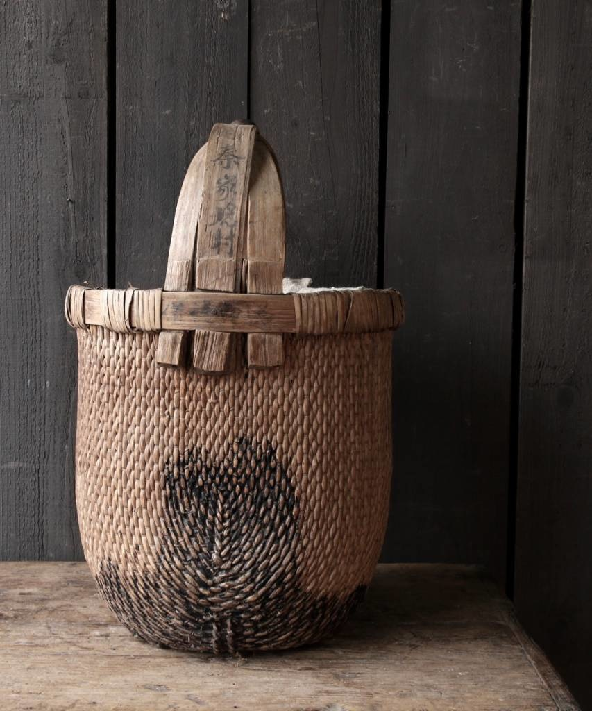 Oude Authentieke Wicker mand-3