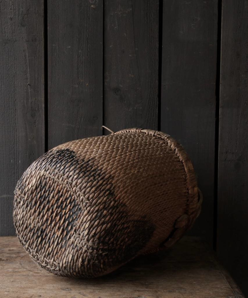 Oude Authentieke Wicker mand-4