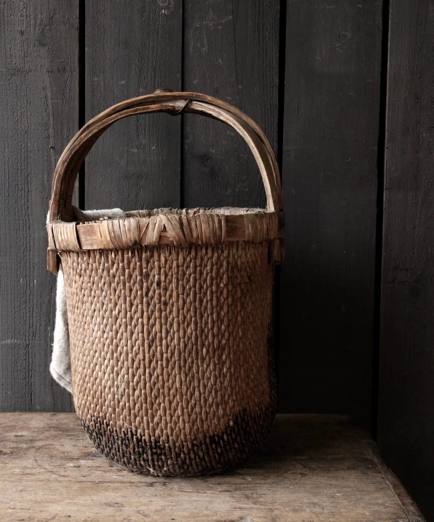 Oude Authentieke Wicker mand-5